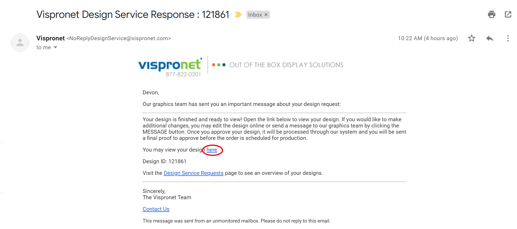 Step 1: Receive Email with Link to Finished Design